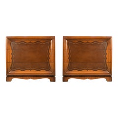 Pair of 1940's Leather Front Chests by Grosfeld House