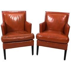 Pair of 1940s Leather Ocean Liner Armchairs