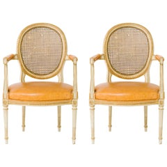 Pair of 1940s Louis XVI Canedback Armchairs with Leather Seats