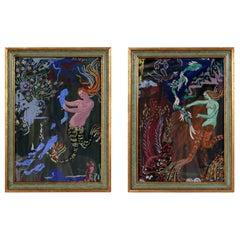 Pair of 1940s Mermaid Paintings