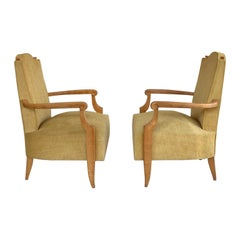 Pair of 1940s Neoclassical Sycamore Gold French Armchairs, Manner of Andre Arbus