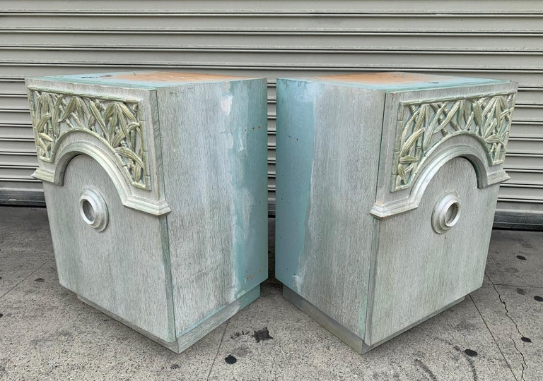 Art Deco Pair of 1940s Nightstands by James Mont, Signed For Sale
