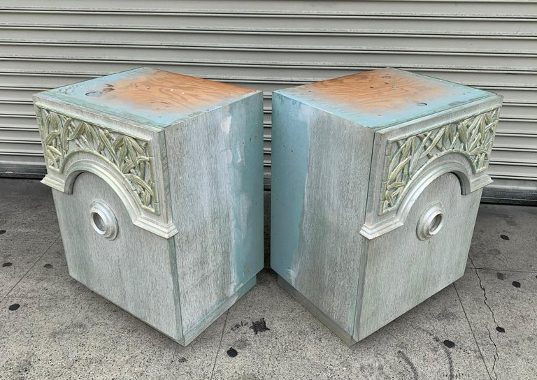 American Pair of 1940s Nightstands by James Mont, Signed For Sale