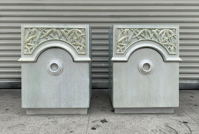 Pair of 1940s Nightstands by James Mont, Signed In Fair Condition For Sale In Los Angeles, CA