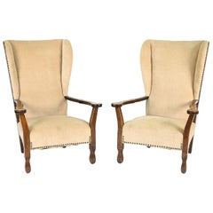 Pair of 1940's Oak Highback Chairs
