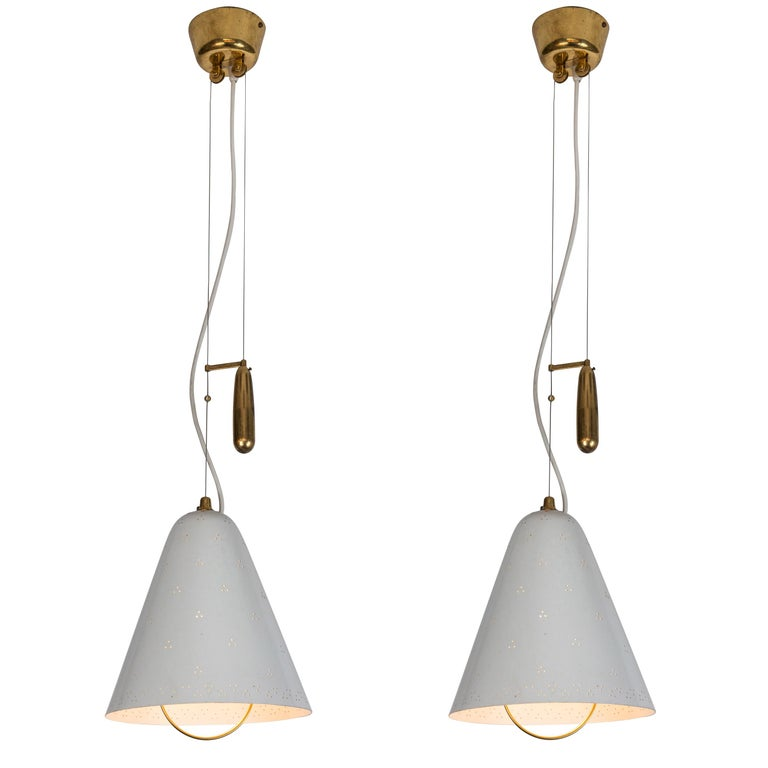 Pair of 1940s Paavo Tynell 'A1942' Counterweight Pendants for Idman Oy For Sale