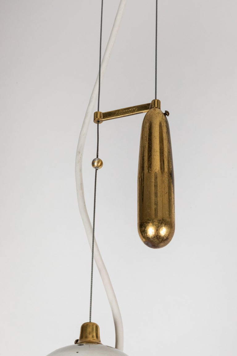 Brass Pair of 1940s Paavo Tynell 'A1942' Counterweight Pendants for Idman Oy For Sale