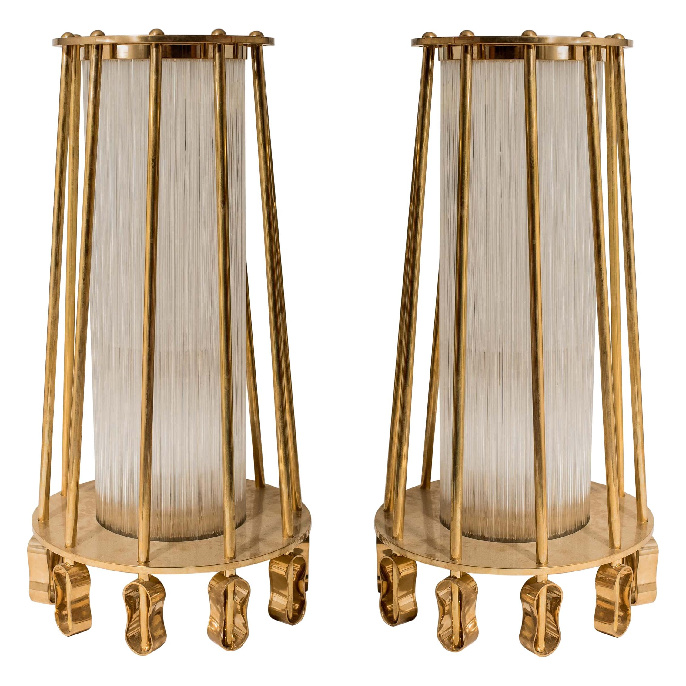 Pair of 1940s Sculptural Column Brass and Clear Glass Floor Lamps Italian Design
