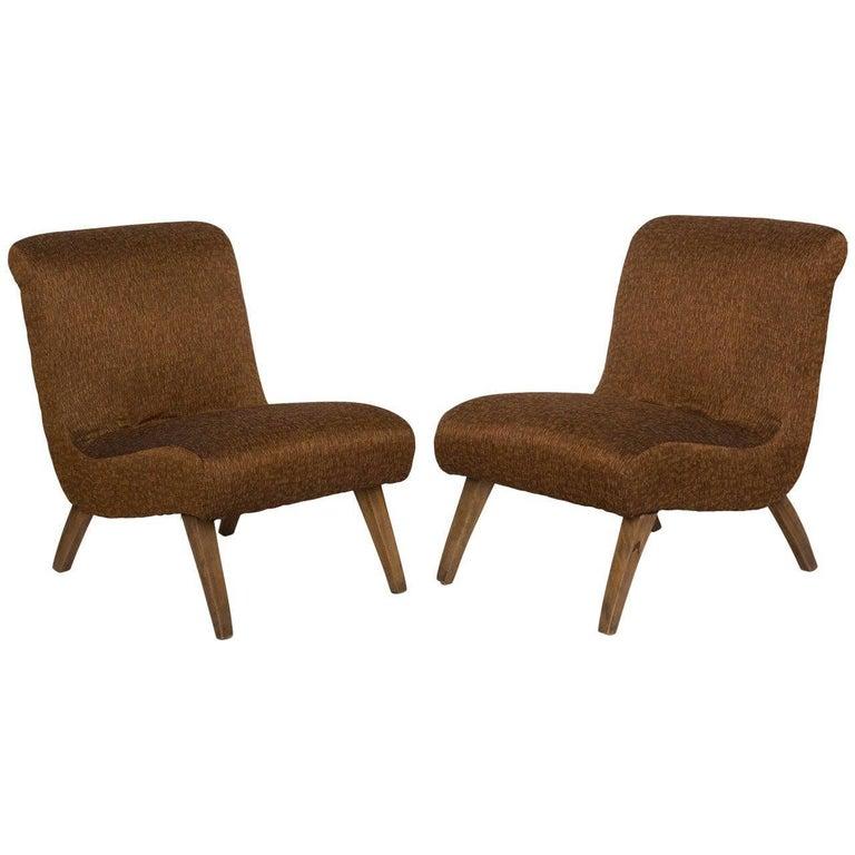 Pair of 1940s Slipper Chairs