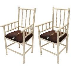 Pair of 1940s Spool Armchairs in Cowhide