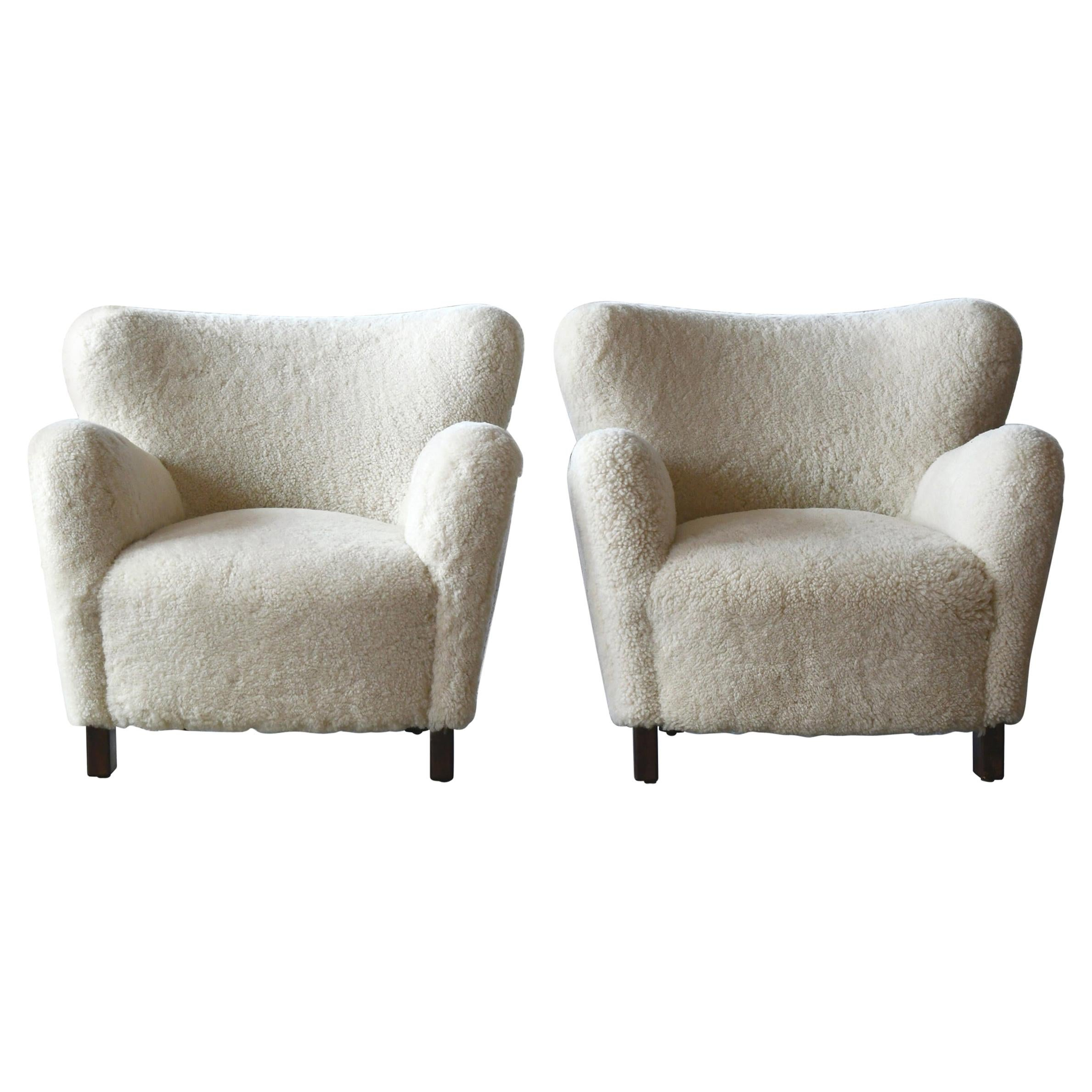 Pair of 1940s Style Classic Club or Lounge Chairs in Shearling