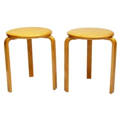 Pair of 1940s Swedish #60 Stools in Birch by Alvar Aalto for Artek-Pascoe