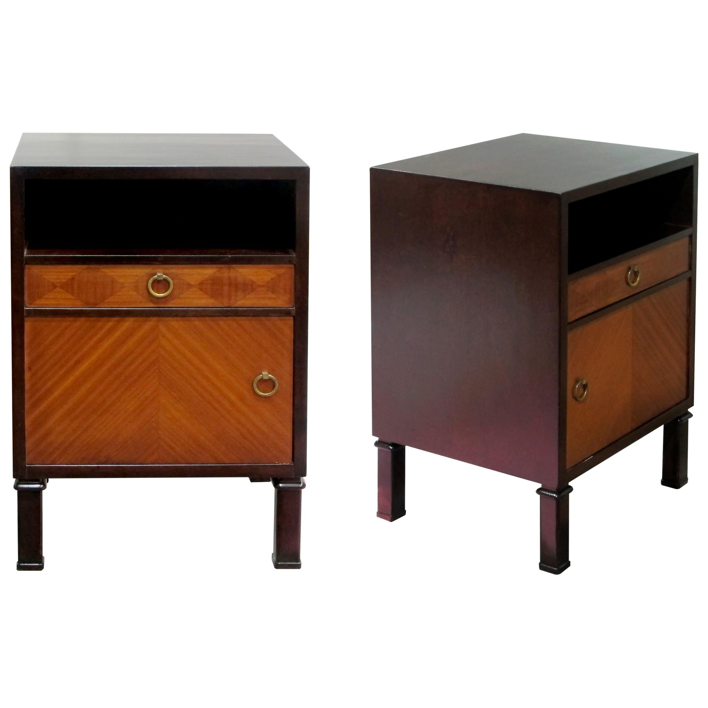 Pair of 1940s Swedish Axel Larsson Nightstands Bedside Tables for SMF Bodafors