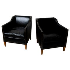 Pair of 1940s Swedish Black Leather Armchairs with Studded Decorative Detailing