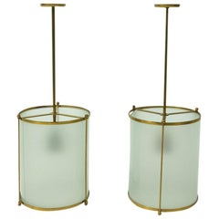 Pair of 1940s Swiss Vintage Brass Pendants, Frosted Glass