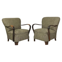 Pair of 1940s Upholstered Bentwood Lounge Chairs