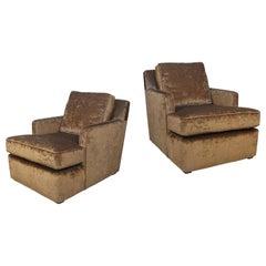 Pair of 1940s Velvet Club Chairs