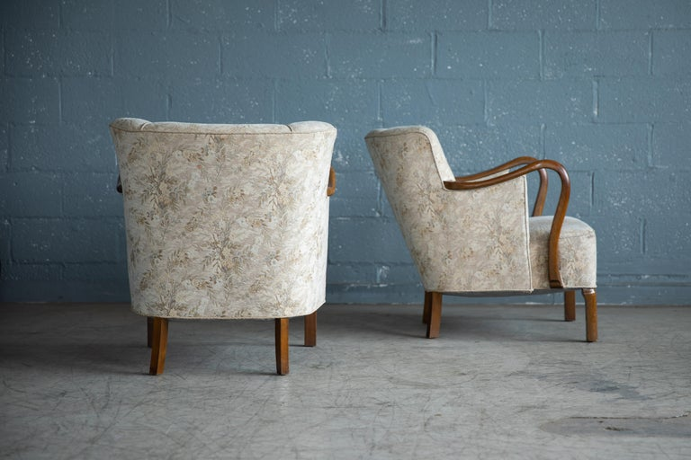 Mid-Century Modern Pair of 1940's Viggo Boesen Attributed Danish Lounge Chairs in Oak by Slagelse