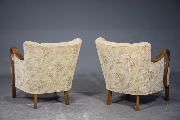 Pair of 1940's Viggo Boesen Attributed Danish Lounge Chairs in Oak by Slagelse 2