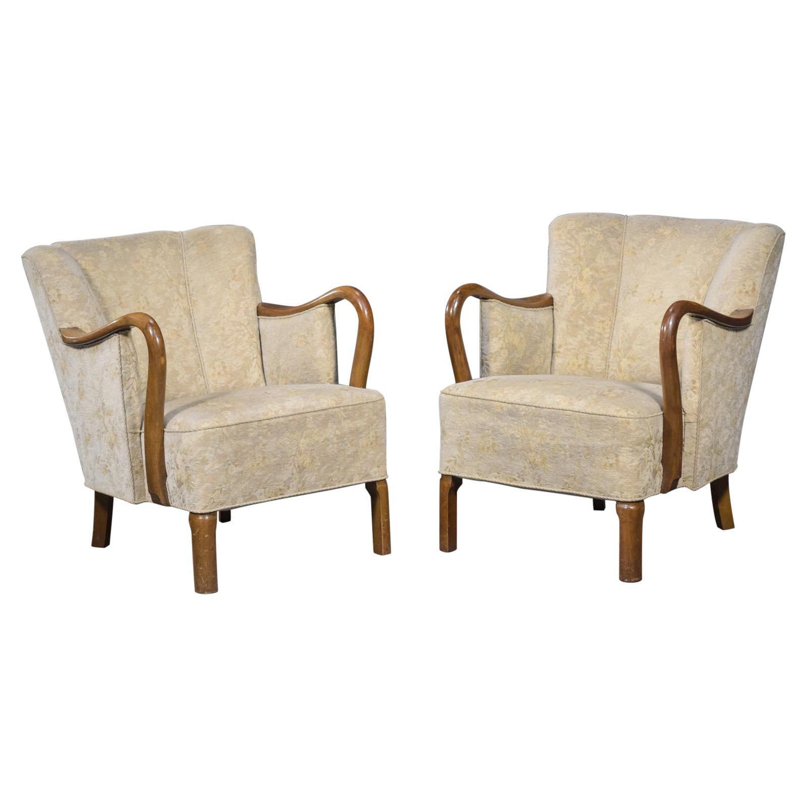 Pair of 1940's Viggo Boesen Attributed Danish Lounge Chairs in Oak by Slagelse