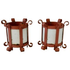 Pair of 1940s Wrought Iron Plant Stands or Holders