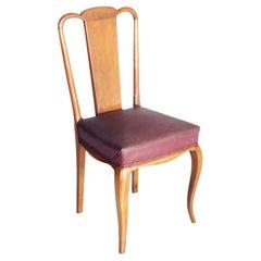 Pair of 1942 Art Deco Side Chairs, in Beech Wood by Osvaldo Borsani All Original