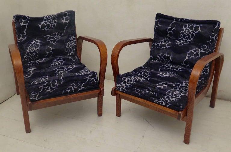 Mid-Century Modern Pair of Midcentury Ash Wood Italian Armchairs, 1950 For Sale