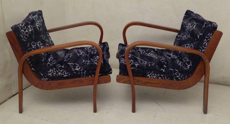 Pair of Midcentury Ash Wood Italian Armchairs, 1950 In Excellent Condition For Sale In Rome, IT