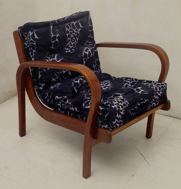 Mid-20th Century Pair of Midcentury Ash Wood Italian Armchairs, 1950 For Sale