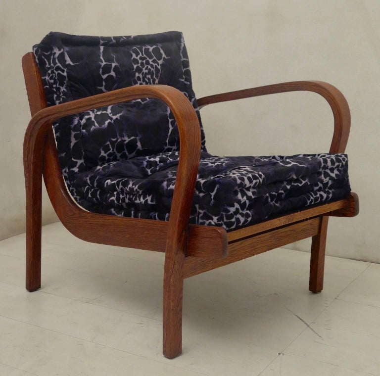 Fabric Pair of Midcentury Ash Wood Italian Armchairs, 1950 For Sale