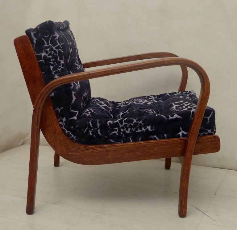 Pair of Midcentury Ash Wood Italian Armchairs, 1950 For Sale 1