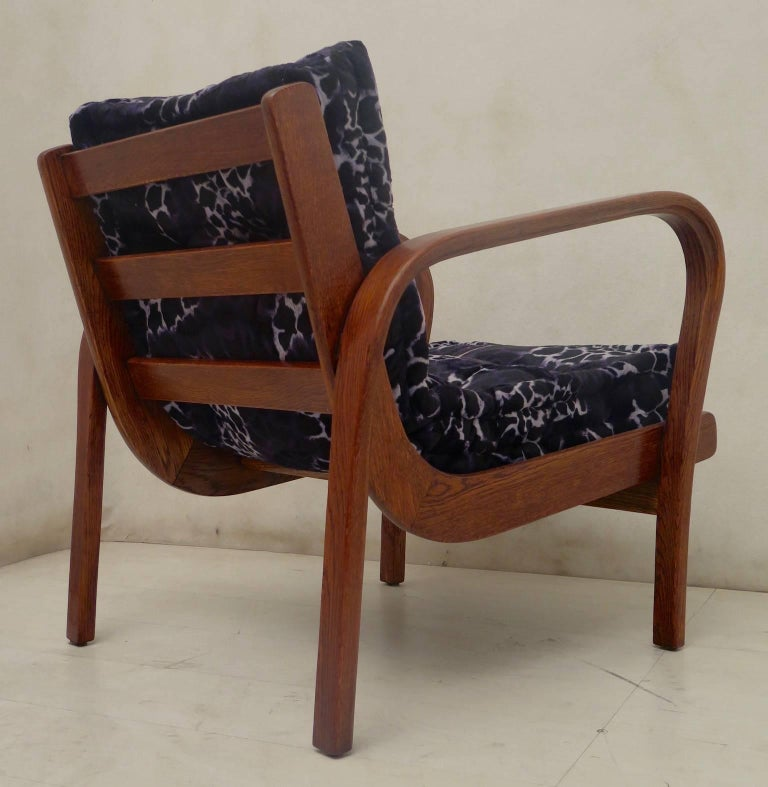 Pair of Midcentury Ash Wood Italian Armchairs, 1950 For Sale 2