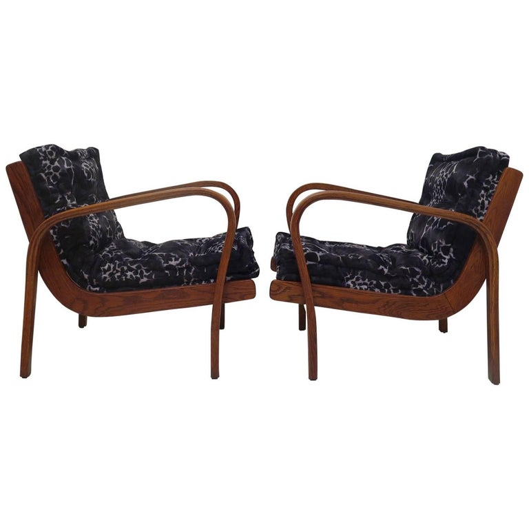 Pair of Midcentury Ash Wood Italian Armchairs, 1950 For Sale