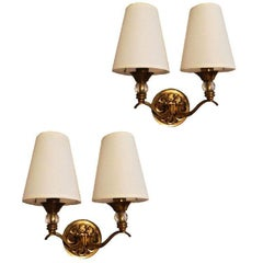 Pair of 1950 French Maison Lunel Bronze Sconces