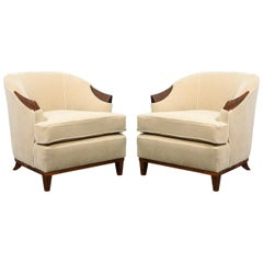Pair of 1950s American Mid-Century Modern Ecru Mohair and Walnut Armchairs
