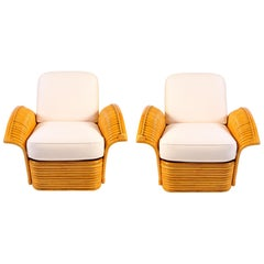 Pair of 1950s American Rattan Armchairs