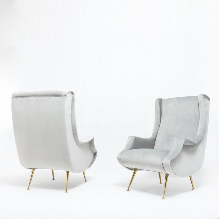 Pair of midcentury armchairs by ISA Bergamo Italy, 1950s  Reupholstered in grey velvet  ISA Bergamo was the furniture company which produced many of Gio Ponti best-known designs.