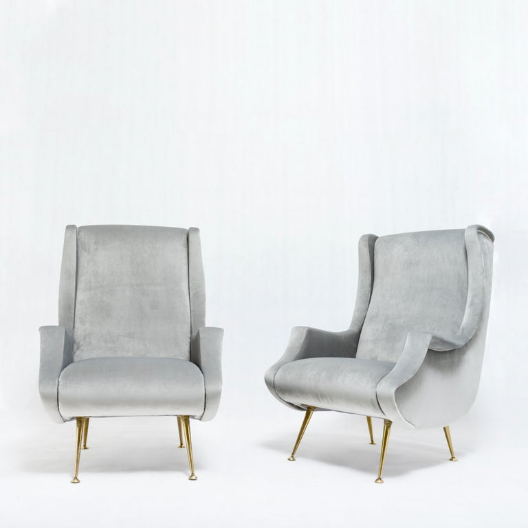 Italian Pair of armchairs by ISA Bergamo - Italy, 1950s For Sale