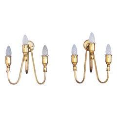 Midcentury design  pair of brass sconces  Arredoluce  Italy 1950s