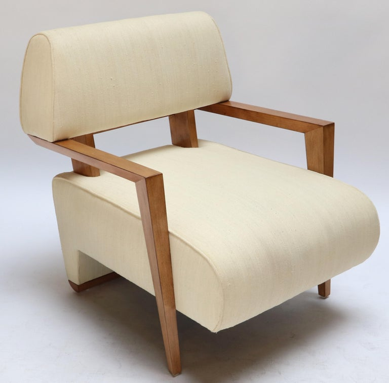 Mid-20th Century Pair of 1950s Art Deco French Armchairs in Ivory Raw Silk For Sale