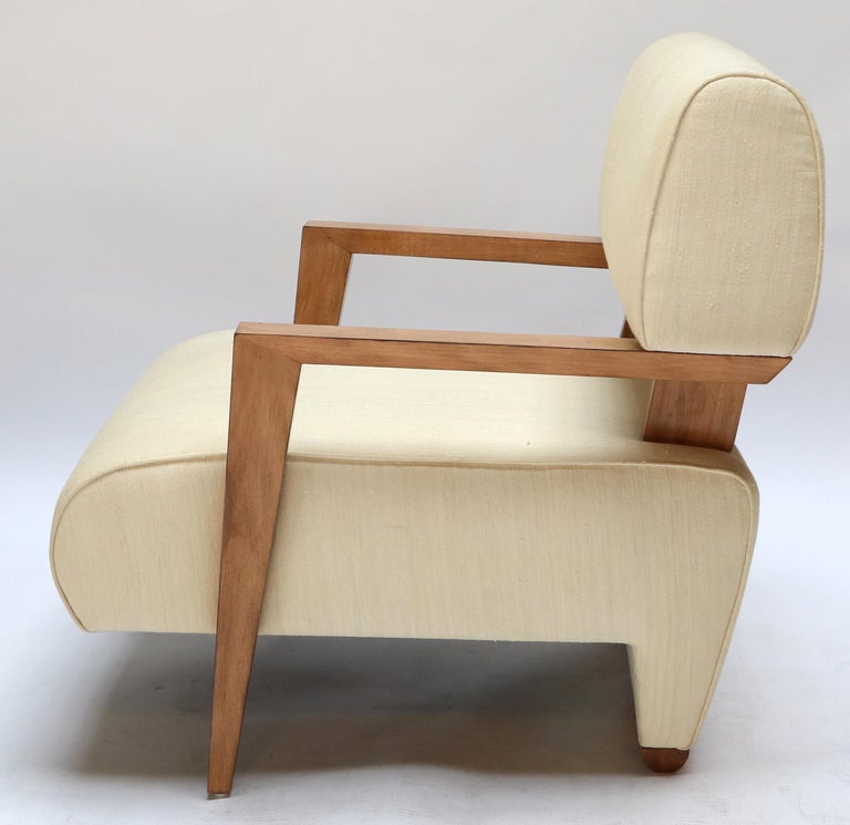Pair of 1950s Art Deco French Armchairs in Ivory Raw Silk For Sale 1