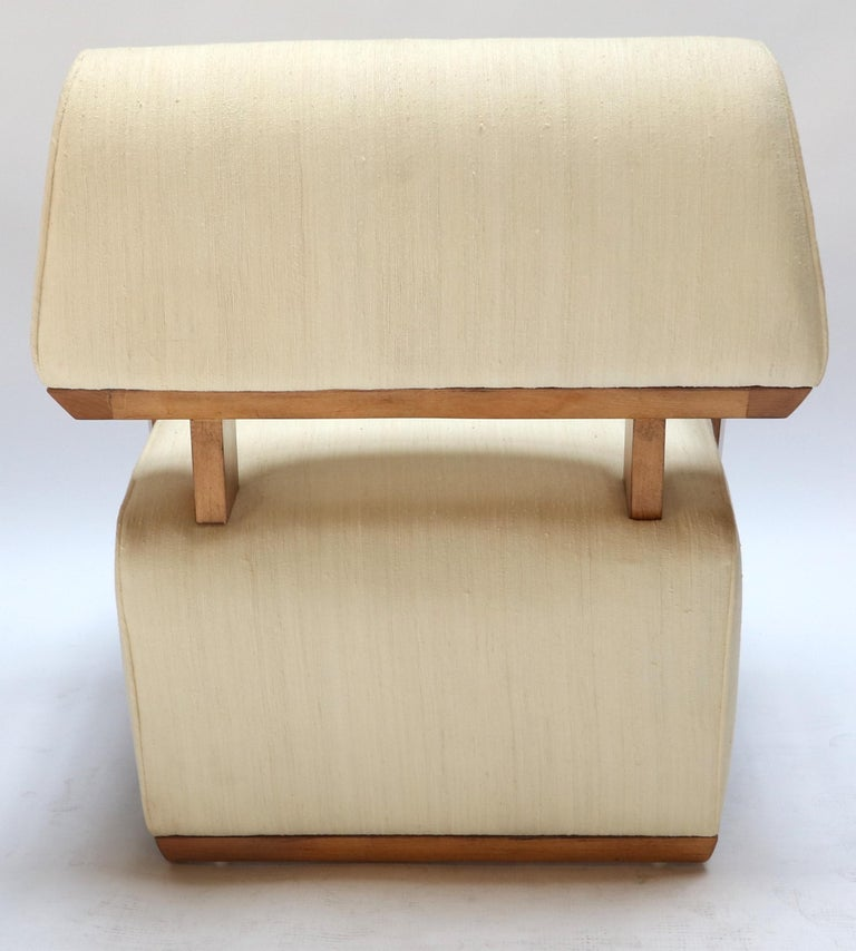 Pair of 1950s Art Deco French Armchairs in Ivory Raw Silk For Sale 2