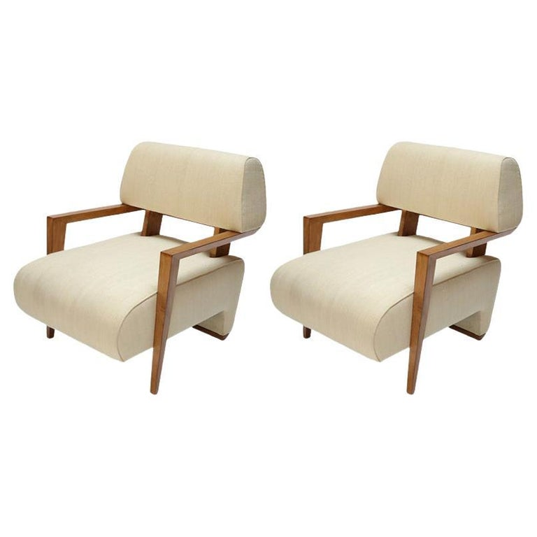 Pair of 1950s Art Deco French Armchairs in Ivory Raw Silk For Sale