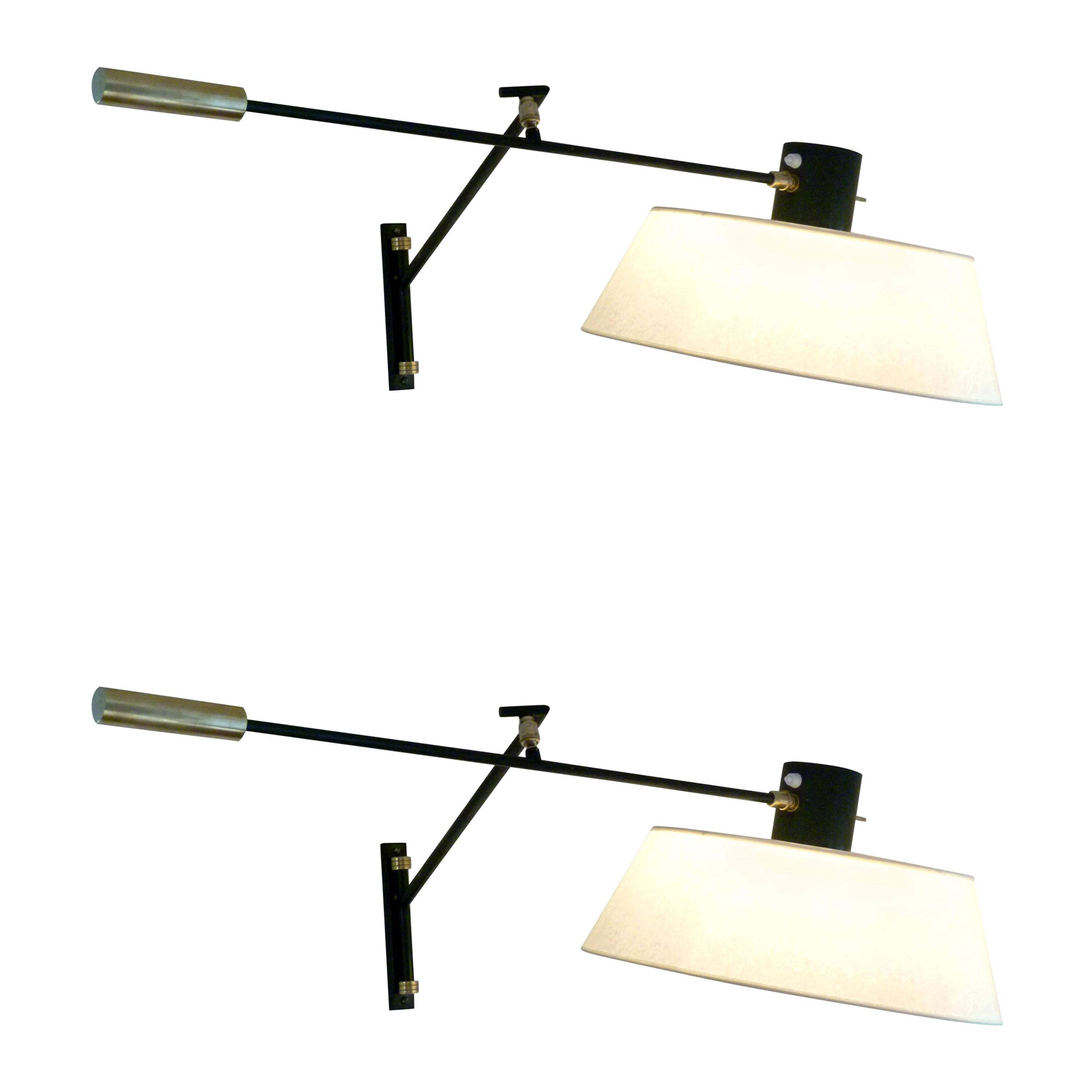 Pair of 1950s Articulated Sconce by Maison Lunel