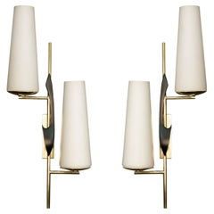 Pair of 1950s Asymmetrical Sconces by Maison Arlus