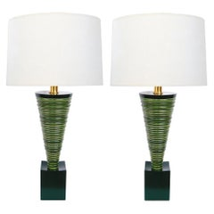 Pair of 1950s Atomic Age Conical-form Green Glazed Ribbed Lamps