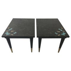 Pair of 1950s Bartolucci Arts Marble Butterfly and Cricket Side Tables