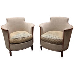 Pair of 1950s Beige and Green Armchairs with Walnut Legs and Detail