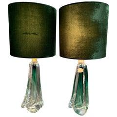 Pair of 1950s Belgium Val Saint Lambert Dark Green and Clear Crystal Table Lamps