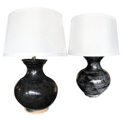 Pair of 1950s Black Craquelure Glaze Ceramic Table Lamps